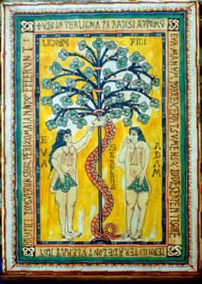 Adán y Eva. Ilustración que decora el códice denominado Codex Aemilianensis. S.X. Procede del escriptorium de S. Millán de la Cogolla de Suso (La Rioja). Se encuentra en la Real Biblioteca del Monasterio del Escorial